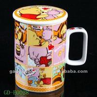 square handle ceramic mug with cover