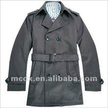 Popular fashion mens black long trench coat