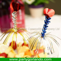Palm fringe heart picks 150mm for party decoration wood cocktail picks