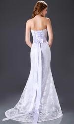 2015 Grace Karin Wedding Dress Strapless White Lace Long CL2528