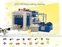 QT8-15B fully automatic hydraulic block making machinery ,multifunctional concrete cement block machine production line