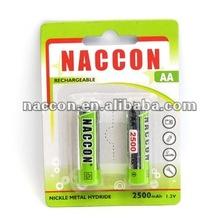 NiMH AA 2500mAh Rechargeable Battery 1.2V batteries