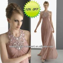 Hot Sale Long Good Quality Chiffon Halter Sexy Beaded Celebrity Evening Dresses China