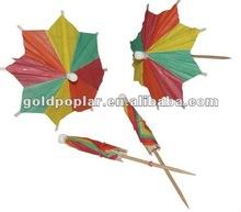 MM6009 Wood umbrella cockail decorative toothpick