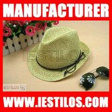 2014 New fashion cheap plian straw fedora hat with brim