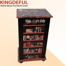 Bookshelf Design 6 Drawers Leather Wooden Furniture Home Furniture