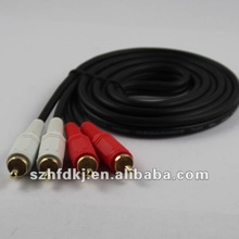 high quality Red and White Audio AV male 2 rca to 2 rca cable made in china