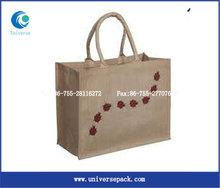 Beautiful environmentally friendly square jute bags custom.