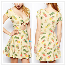 2015 The new tropical pineapple print sexy casual dress (LY0389)