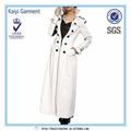 mode de style européen super slim blanc en cuir long manteau femme modèle