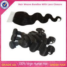 Top 6A grade Brazilian virgin human hair body wave lace closure with hair bundle hair weaving
