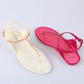 Phantasie pvc frauen flip-flop-sandale flachen sandalen kristall bohren dekoration gelee sandalen