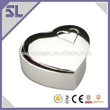 Small Metal Mirror Polished Finish Heart Shape Small Metal Trinket Box Cheap Jewelry Boxes Wholesale China Supply