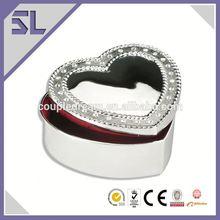 Silver Plating Heart Shape Metal Trinket Box Decorative Jewelry Box China Supply