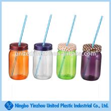 wholesale 16 OZ Single wall plastic mason jars with handle and plastic straw