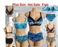 2015 plus size big leopard women bikini set,cheap high waist swimsuit sexy fashion bikini ,push up bikini