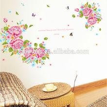 Tamanho grande rosa flor de hibisco & borboleta decorativos adesivos de parede pvc telhas para sala de estar