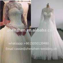 2015 Pre-colletion CJ-R056 Elegant Lace Princess Cut Customized Plus Size Long Sleeves Lace Wedding Dress
