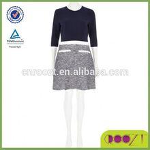 Navy boucle A line half sleeve split design High Quality 2014 Summer Dress Woman