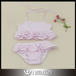 Wholesale High Quality Lovely Seersucker Ruffle Baby Swimsuit