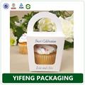 China wholesale portatile togliere casella cupcake, mini box cupcake con maniglia fustellata