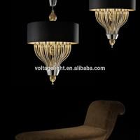 Modern Italian Fancy Crystal Glass Chandelier Lights Matt Black Round Hanging Lamp
