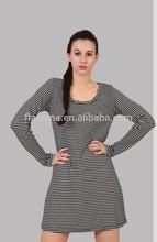 women's lovely merino round-neck dress/sexy black and white stripes