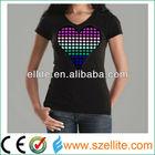 2014 custom design pink heart V neck el ladies tshirts
