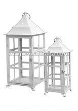 Vintage white metal lantern for candles