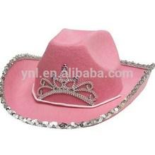 New Pink Felt Princess Cowboy Hat With Tiara