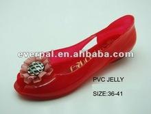 2013 pvc jelly shoes ladies flower sandal