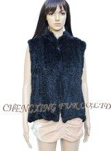 Cx-gb-99b piel de conejo auténtica moda chaleco mujeres jóvenes moda géneros de punto