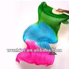 2012 wholesale green blue rose mixing color Belly Dance Silk Fans veil DJ1022