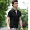 Classical black men's plain slim fit polo shirt