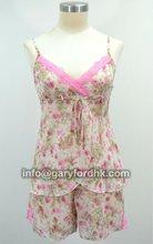 Floral Printed Chiffon V-Neck Top And Chiffon Shorts Sleepwear