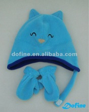 winter fleece hat glove for child in animal design