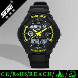 Dual time plastic analog digital watch