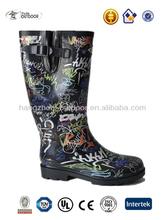 Ladies New Design Graffiti clássico galochas de borracha botas de chuva