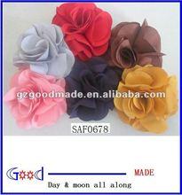 "6 colors chiffon flower 3.5"" brooch hand made flower hair flower"