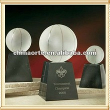 Globe Award Trophy Crystal Basketball For Tournament Champion