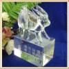 Lovely Rabbit Crystal Animal Figurine With Clear Cube Base