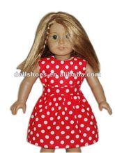 Rouge et blanc polka dot robe 18 polegada american girl robe de poupée