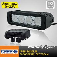 12v 8 inch ip68 40W LED light bar,single row offroad bar light