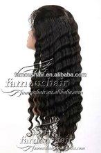 "fashionable 22"" deep wave #1 Peruvian virgin human hair full lace wig"