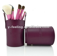 New Arrival Pro high quality 7 Pcs purple color goat hair makeup brushes sets kits with PU cylinder
