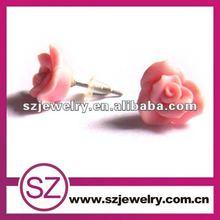 Beautiful polymer clay rose flower stud earring