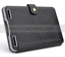 Crazy-horse imitation leather case with embedded light for kindle touch