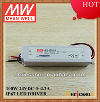 MEAN WELL 100W CE 90-264VAC Universal Input 24V 4.2A Constant Voltage IP 67 LED Transformer LPV-100-24