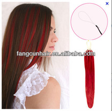 2013 Top selling products of Peruvian/Malaysian/Brazilian micro ring loop hair extension with red color