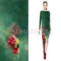 las señoras de moda digital de impresión de tela de seda vestido largo proveedor de china